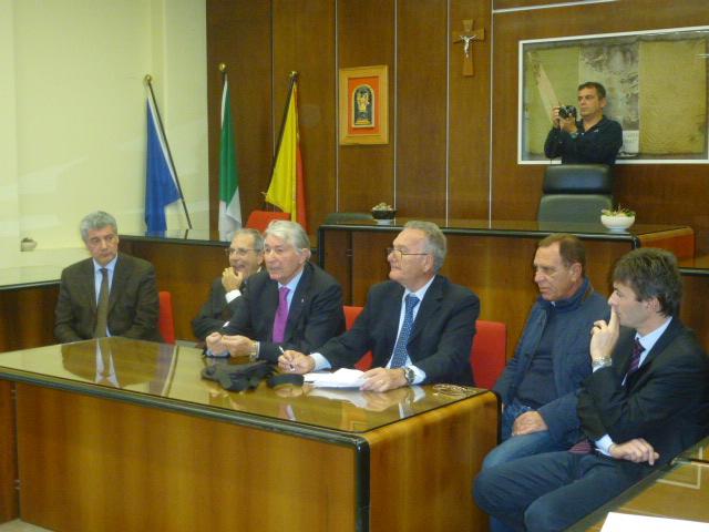 Il Sindaco Borzi', il Questore Longo, Ignazio russo, Edo Murabito, Enrico grimaldi, il Direttore AC Catania